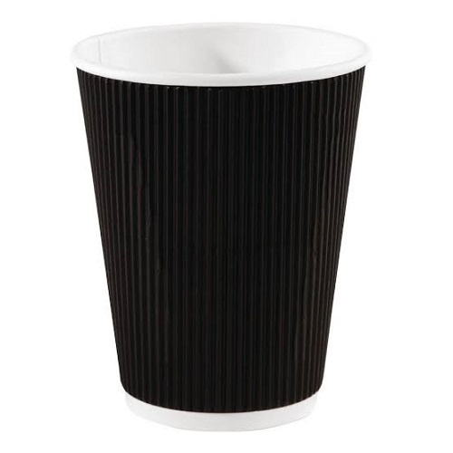 12 oz (360ml) Black Corrugated Tripple Wall Coffee Cup Sleeve (25)