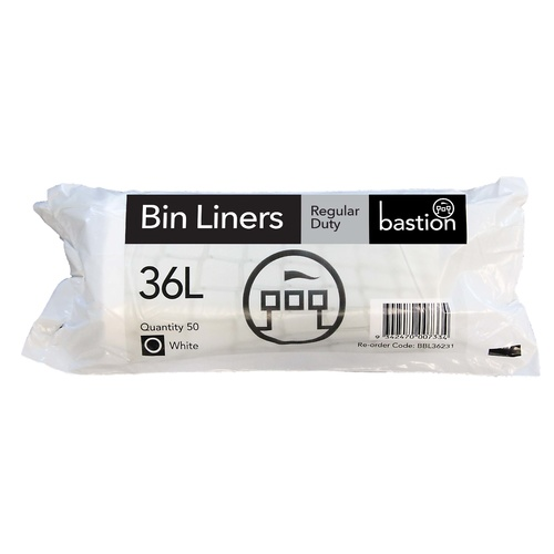 Kitchen Bin Liners 36L Large White Roll 50