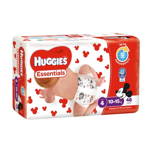 Huggies Essentials Toddler (SIZE 4 10 to 15kg) Ctn 184