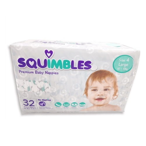 Squimbles Baby Premium Nappy Toddler (Large)  Ctn 128