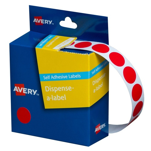 Avery Circle Dispenser Labels 14mm Removable Red Pk 1050