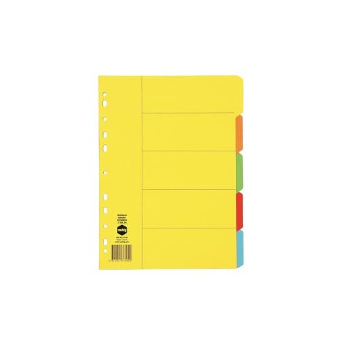 Marbig Divider Manilla A4 5 Tab Bright Coloured