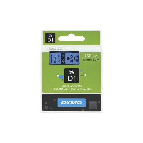DYMO D1 Label Tape 12mm x 7m Black on Blue