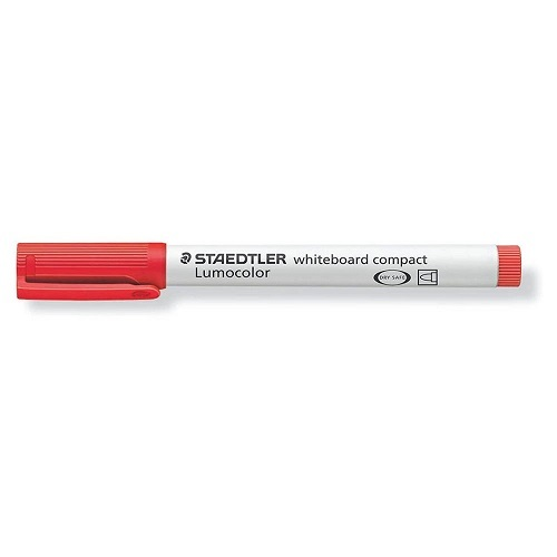 STAEDTLER 341 Lumocolor COMPACT Whiteboard Bullet Tip Markers RED Box 10